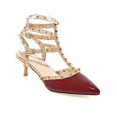 LvYuan Da donna-Sandali-Ufficio e lavoro Formale Serata e festa-Comoda Con cinghia Club Shoes-A stiletto-Vernice-Nero Rosa Rosso Borgogna Pesca Red