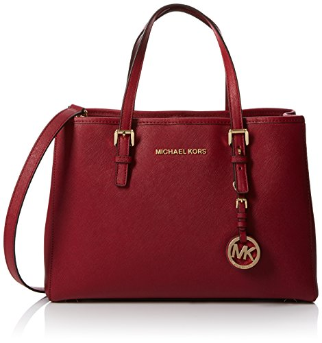 90a1ac9bfdb1 Michael Kors Women's Jet Set Travel Saffiano Leather Medium Tote Red  (Cherry) – DealsWorths