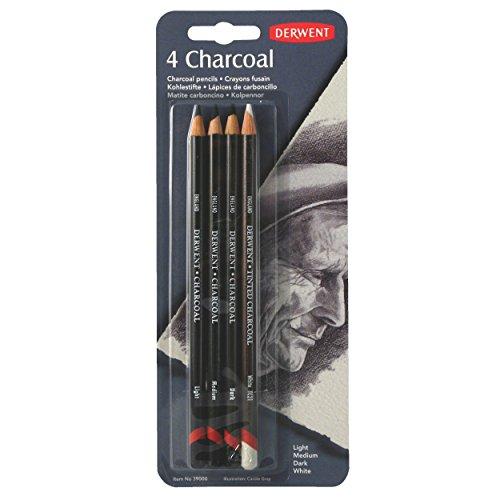 Carboncillo Derwent Charcoal - Juego de 3 lápices de carboncillo de distinto tono más 1 lápiz blanco