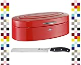 WESCO Brotkasten ELLY ROT mit BSF Brotmesser im Set % SALE %