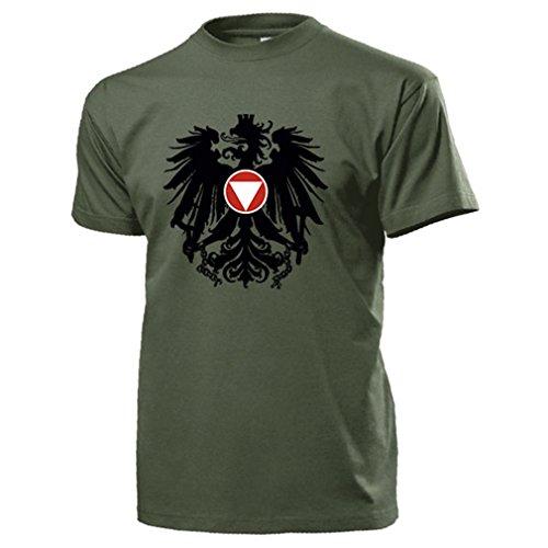 Bundesheer Österreich Adler Wappen Logo Abzeichen Heer Militär - T Shirt #14517, Farbe:Oliv, Größe:Herren L