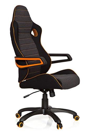41 fgDN3YML - hjh OFFICE 621850 RACER PRO IV - Silla gaming y oficina, tejido negro/gris/naranja
