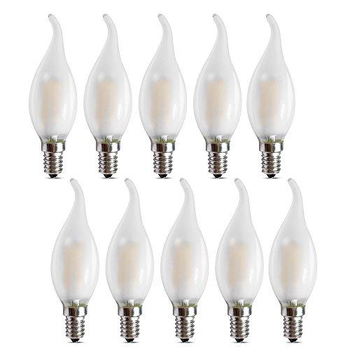 Ampoule LED E14 à Filament Dimmable, Lot de 10 Ampoules Flamme, 4 Watts Consommés Equivalence Incandescence 40W, 2700K Blanc Chaud et 400LM, Angle de Faisceau 360°