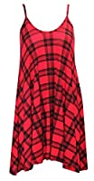 FASHION FAIRIES Women's Sleeveless Casual Dress Uk 20-22 Red Tartan