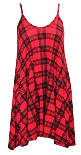 Generic - Débardeur - Patineuse - Sans Manche - Femme Multicolore Bigarré Taille Unique - Motif écossais rouge
