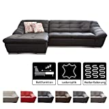 Cavadore Ecksofa Lucas / Kunstleder-Couch mit Steppung und Schlaffunktion / Longchair links / 287 x...
