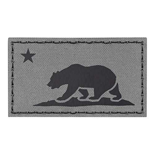IR California Republic State Flag 2x3.5 Wolf Gray Grey IFF Tactical Morale Fastener Patch -