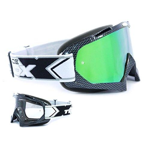TWO-X Race Crossbrille Carbon Glas verspiegelt grün MX Brille Motocross Enduro Spiegelglas Motorradbrille Anti Scratch MX Schutzbrille