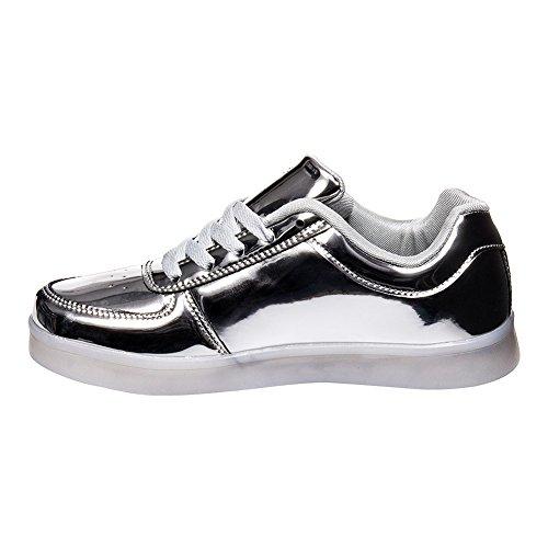 Bleeding Heart Shiny LED Sole Sneaker Silber