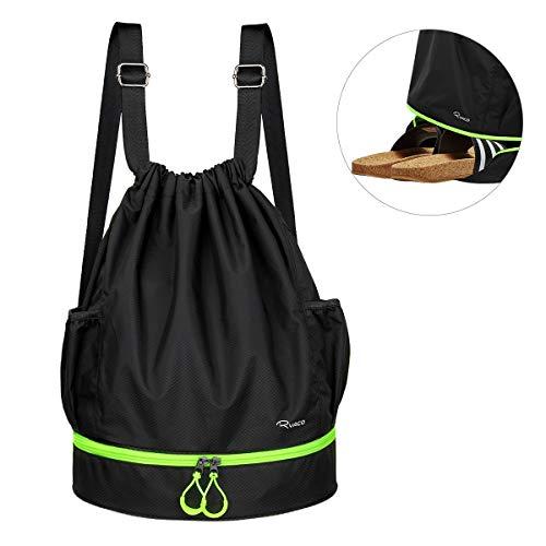 Ryaco borsa palestra zaino palestra sacca sportiva sacca impermeabile zaino scuola zaino da viaggio sacca zaino borsa coulisse (nero & verde neon)