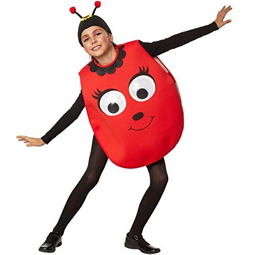 dressforfun 900480 - Kinderkostüm Cartoon Käfer, Poncho in Rot, Stoffmütze mit Fühlern und Sonnenblume (116   Nr. 302180)