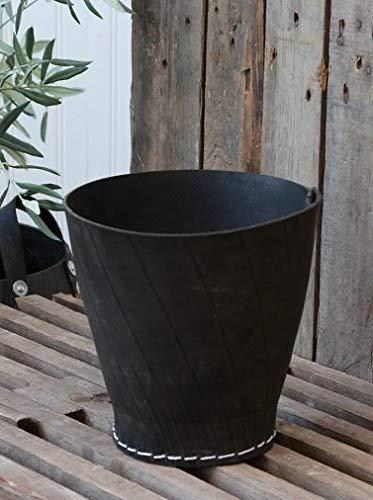 Chic Antique | Gummikorb Gummitopf Klein H 18 cm D 19 cm | Übertopf aus recycelten Autoreifen | Schwarz | Wohndeko Frühling Sommer