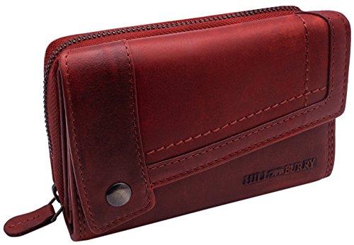 Hill Burry Echt-Leder Portemonnaie | XXL & Kompakt - Vintage Geldbörse aus hochwertigen weichem Voll-Leder | Damen/Frauen - Herren/Männer Brieftasche | Portmonee im Used Look - Geldbeutel (Rot)