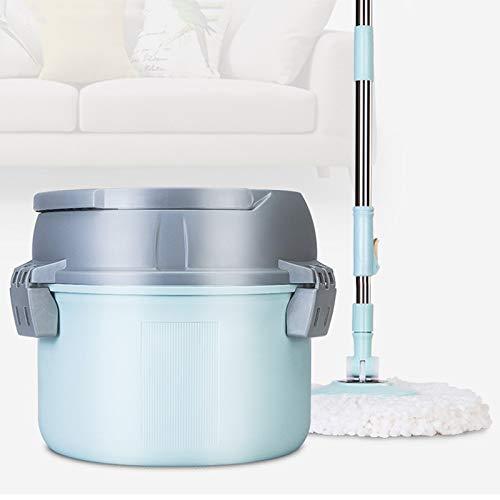 Llsdls Einzelner Eimer-Mopp-Eimer-Drehuniversal-Handwaschautomatischer trockener Wasser-Mopp-Tuch-Haushalt mit Stange einzelnes faules Wischen (Color : Blue)