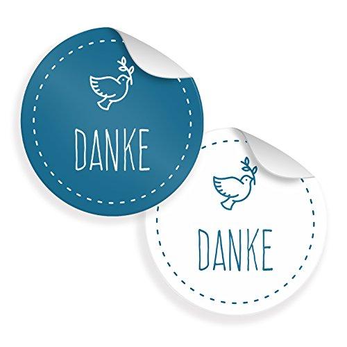 24x itenga Sticker Taube Danke (Motiv 40) 4cm Aufkleber Taufe Kommunion Konfirmation Hochzeit