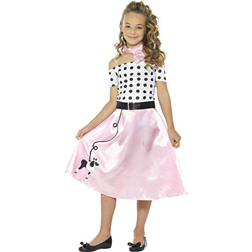 NET TOYS Rock'n'Roll Kinderkostüm 50er Jahre Kostüm Kind M, 7 - 9 Jahre, 130 - 143 cm Fifties Karnevalskostüm Mädchenkostüm - Kinder 50er Jahre Kostüm