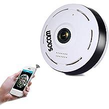 SACAM Mini Camara Espia Oculta, Cámara de Seguridad con Visión Nocturna, Detección de Movimiento, Lente ojo de Pez de 360 grados