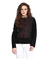 Yepme Piera Full Sleeves Jacket - Black & Wine -- YPMJACKT5148_XS
