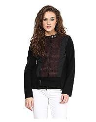 Yepme Piera Full Sleeves Jacket - Black & Wine -- YPMJACKT5148_M
