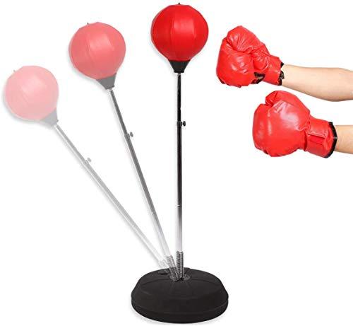 Greensen Punchingball Boxen Set Boxsack Erwachsene Freistehend Standboxsack mit Boxhandschuhe und Pumpe Kinder Jugend Boxtraining Standboxball Höhenverstellbar Boxsack Boxständer