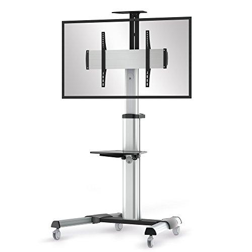 conecto LM-FS02G Pro TV Ständer Standfuß rollbar Universal für Monitor Fernseher LCD LED Plasma mobil mit Rollen höhenverstellbar schwenkbar drehbar 37-70 Zoll (94-178cm) VESA 200x200 - 600x400mm Alu -