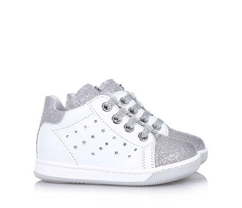 FALCOTTO - Weißer Schuh mit Schnürsenkeln aus Leder und Glitzern, ideal zum Laufen lernen und zum Krabbeln, silberne Schnürsenkel, Mädchen Weiß