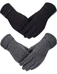 Sumind 2 Paar Damen Winter Handschuhe Warmer Plüsch Handschuh Gefüttert Winddicht Handschuhe für Damen und Mädchen (Schwarz, Grau)