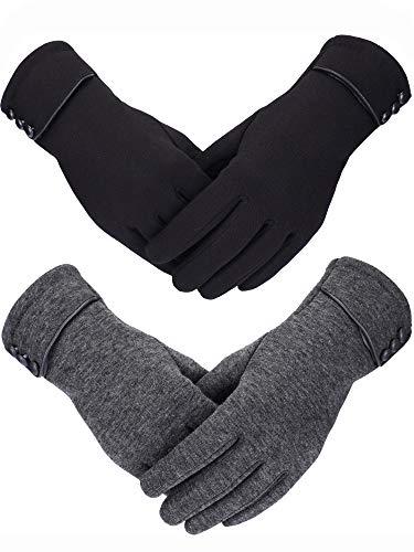 guanti neri donna Sumind 2 Paia Guanti da Donna Invernali Più Caldo Guanto Peluche Foderato Guanti Antivento per le Donne e le Ragazze (Nero