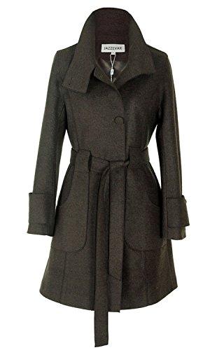 BN BININBOX® Fashion Damen Mantel Wollmantel Kaschmir Lang mit Gürtel Jacke Winter Trenchcoat Stehkragen mit Knopfleister Dunkelgrün