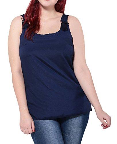 Smile YKK Femme Plus Size Débardeurs Uni Elastique Chiffon Mode Slim Tops T-shirt Evasée Bleu