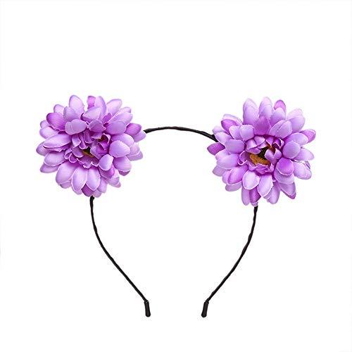 Yazilind böhmische Simulation Stoff kleine Daisy Flower Stirnband Seaside Holiday Stirnband Lila (Flower Stirnband Daisy)