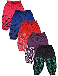 T2F kids girls printed capri (Pack of 5) Blue-Black-Red-Purple-Rose