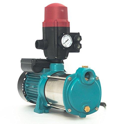 Kreiselpumpe Gartenpumpe MHI1300 INOX 1300 Watt 6000 L/h 5,5 bar mit Schaltautomatik BRIO-SK13 inkl. Trockenlaufschutz, Hauswasserwerk