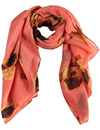 Coral Pink Pugs Dog Print Wide Scarf