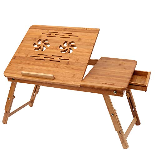 Athomestore Bambus Höhenverstellbarer Laptoptisch mit Schublade, klappbarer Notebooktisch aus Bambus, Betttisch für Lesen oder Frühstücks, Zeichentisch und Esstisch für Bett 55 x (22.8-31) x 35 cm - Moderne, Verstellbare Sofa-bett