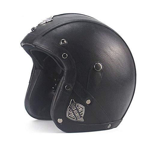 CARACHOME Classico in Pelle · Casco Jet Vintage metà Aperto Faccia, Maschera Casco Protettivo per Uomini e Donne.Adatto per Cruiser Scooter Moto Motorbike,Black,M