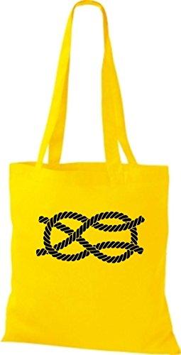 ShirtInStyle Stoffbeutel Baumwolltasche Sailing Motive Seemannsknoten Kreuzknoten gelb