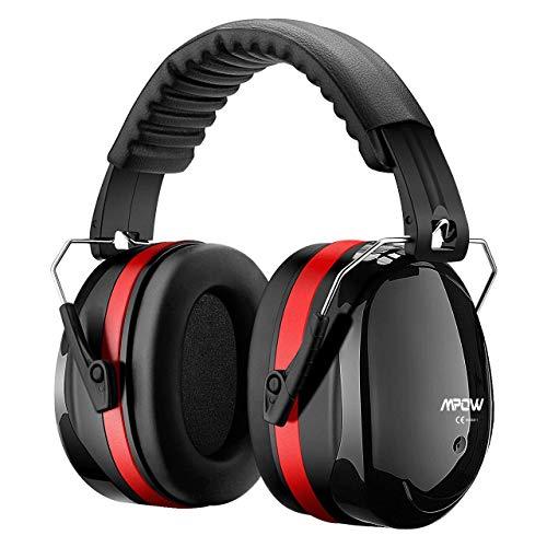 Mpow 035A Gehörschutz Kind und Erwachsene mit SNR 34dB, Größenverstellbare Ohrenschützer mit Faltbarer Kopfbügel für Lärm bis 98dB, Lärmschutz Kopfhörer für Gehörschutz Schiessen, Gartenarbeit - Rot