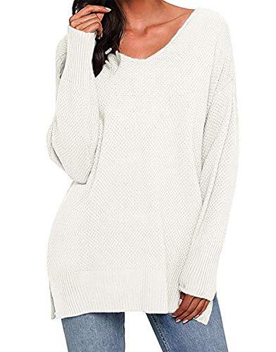Kenoce Damen Pullover V-Ausschnitt Casual Strick Oberteile Langarm Elegant Einfarbig Puli Oberteile Weiß L=EU 42/44 (Damen-ausschnitt Pullover)