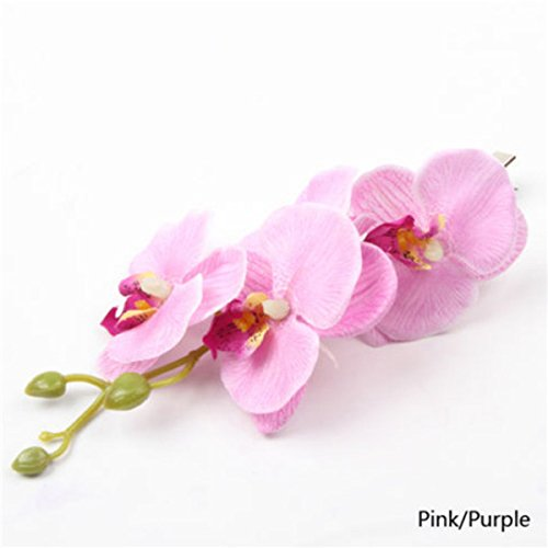 Mariposa-Orqudea-pelo-Clip-Gran-pelo-flor-rama-en-lavanda