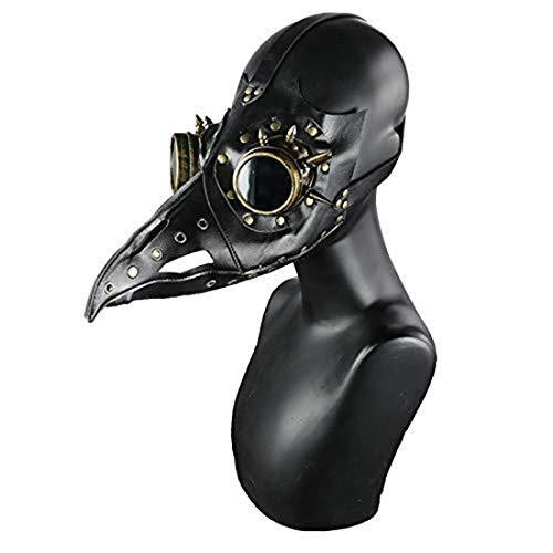 Steel Master Gotische lange Nase Pest Arzt Maske für Halloween Vogel Schnabel Maske Cosplay Requisiten Black F