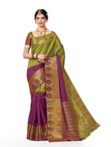 TAANSHI Women's Tassar Silk Saree (Taanshi-Am204_Peach)