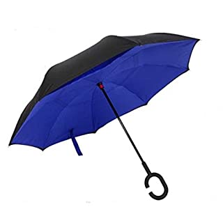 Manfâ Windproof Reverse Folding Double Layer Inverted Umbrella with C shape Handle, Self Standing, Inside Out , Free Handle For Women and Men Sapphire