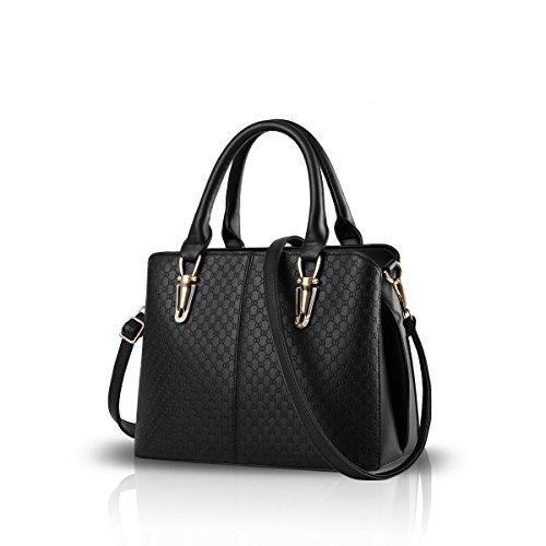 (NICOLE&DORIS 2019 Mode Frau Handtasche große Tasche Retro-Handtaschen lässig Umhängetasche Kuriertasche für Frauen Schwarz)