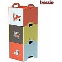 Hessie Caja de madera empilable de 3 capas/almacenaje / organizador, sitio de los cabritos/muebles del dormitorio del niño