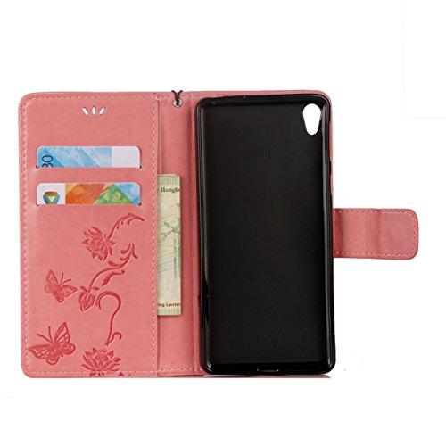Hülle für Sony Xperia E5, Tasche für Sony Xperia E5, Case Cover für Sony Xperia E5, ISAKEN Blume Schmetterling Muster Folio PU Leder Flip Cover Brieftasche Geldbörse Wallet Case Ledertasche Handyhülle Lotus Schmetterlinge Pink