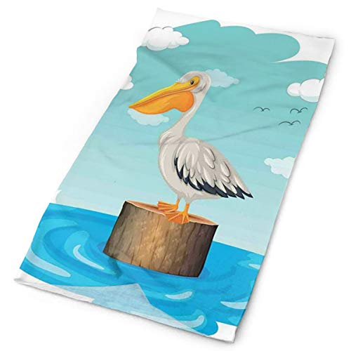 Magic Headwear Outdoor Scarf Headbands Bandana,Single Aquatic Bird Standing On A Log Water Blue Sky With Clouds Clipart Style,Mask Neck Gaiter Head Wrap Mask Sweatband