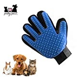 pretty petZ Fellpflege-Handschuh einfachen Entfernung Loser Tierhaare | Für Hunde & Katze in Profi Tiersalon Qualität | + GRATIS E-Book (S, Blau)