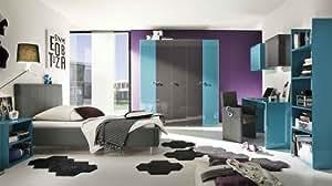 Chambre complète design ALICIA, laquée turquoise et anthracite Lit 140 x 200 cm - Armoire H 240 cm