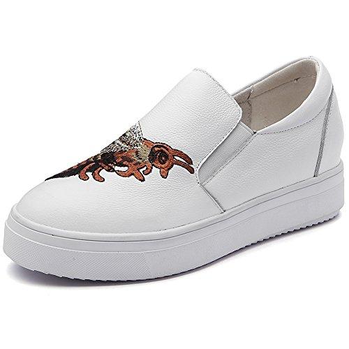 Renben Femme Plate-forme Glisser Sur Broderie Confort Cuir Baskets Chaussures 6022 Blanc